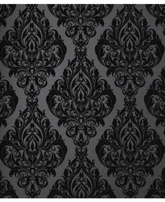 """Kinky Vintage: Naughty Noir"" black damask flocked wallpaper from Graham & Brown ©."