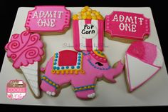 Pink Carnival / Circus Themed Cookies by Cakes & Cookies by Clau