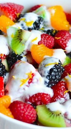 Rainbow Fruit Salad with Creamy Limoncello Dressing ~ incredible!