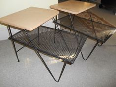 Mid Century Modern Russell Mesh Pair End Table Nightstand Step Down