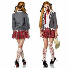 Fantasia de Zumbi de estudante colegial Halloween 2019, Halloween Makeup, Fantasia Diy, Costume Makeup, Punk, Costumes, Cinema, Album, Fantasy