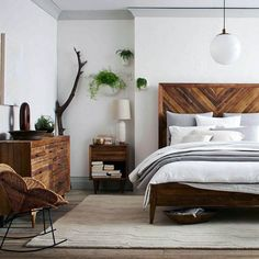 Wood headboards for beds wooden bed frames headboard queen - Bedroom Dressers, Wood Bedroom, Small Room Bedroom, Trendy Bedroom, Bedroom Sets, Home Decor Bedroom, Small Rooms, Bedding Sets, Bed Room