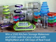 Win a $500 Kitchen Storage Makeover plus $500 cash for your school in the 100 Days of Real Food / MightyNest giveaway!