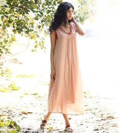 Pale pink boho maxi by KharaKapas on Etsy