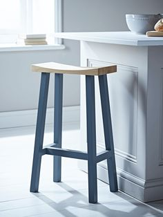 Curved Top Oak Stool - Charcoal
