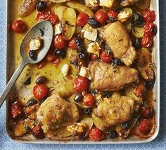 This easy Greek recipe with potatoes, olives and feta can be made in one pot - use skin-on thighs for the most succulent roast chicken