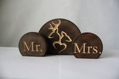 Rustic Wedding Cake Topper Set - Mr and Mrs with Buck and Doe on Etsy, $20.00