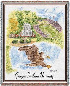 Georgia Southern University, Collage Throw Blanket