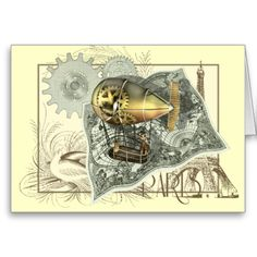 Grab your goggles and board the airship for a lightning tour of Europe, stopping off at Paris! This fun steampunk inspired digital collage design has all you need for the trip. The balloon, the old map, cogs & gears and even the Eifel Tower. Available on t shirts, cards and many other gift items too.Clear any unwanted text from the templates, what you see on screen is what will print on the final product #steampunk #dirigible #airship #eifel #tower #paris #map #hot #air #balloon #digital ...