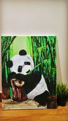 acrylic canvas painting. panda in bamboo forest