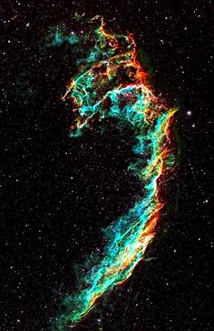 The Veil Nebula is a cloud of heated and ionized gas and dust in the constellation Cygnus. It constitutes the visible portions of the Cygnus Loop, a large but relatively faint supernova remnant. Distance to Earth: light years Cosmos, Hubble Space, Space And Astronomy, Space Telescope, Across The Universe, Space Photos, Galaxy Space, Amazing Spaces, Deep Space