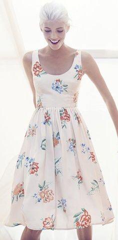 BB Dakota 'Heleen' Floral Print Fit & Flare Midi Dress -- cute, modest, and very girlie!