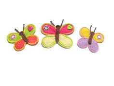 Crochet Butterfly Appliques Colorful Butterfly by CreArtebyPatty