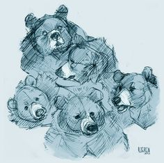 This work uses different line lengths, proximity, and directions to imply the shape of the object (the bears). The work contains curved lines, diagonal lines, and move lines are thin or slightly wider. Animal Sketches, Animal Drawings, Art Sketches, Art Drawings, Sketchbook Inspiration, Art Sketchbook, Poses References, Love Art, Art Tutorials