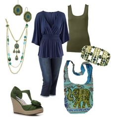 Navy & Olive w/ a Hint of Teal, created by amyjoyful1.polyvore.com