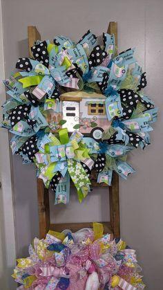Wreaths For Front Door, Door Wreaths, Camper Signs, Deco Mesh Wreaths, Easter Wreaths, Summer Wreath, How To Make Wreaths, Wood Signs, My Etsy Shop
