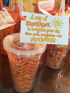 A cup of Sunshine for Teacher Appreciation Week. Staff Gifts, Student Gifts, Teacher Gifts, Employee Appreciation, Teacher Appreciation Week, Cheer Sister Gifts, Juicy Fruit Gum, Dollar Store Gifts, Box Of Sunshine