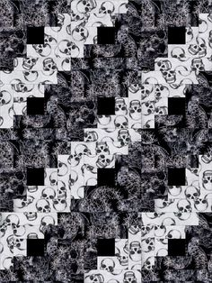 Skull Affair Log Cabin Pre-Cut 12 Block Quilt Kit : Our quilt kit is already precision pre-cut for accuracy. Awesome black and white skull prints. With the log cabin quilt pattern there are several layouts possible, you can experiment before sewing you Crafts For Kids To Make, Easy Crafts, Pirate Quilt, Log Cabin Quilt Pattern, Black And White Quilts, Quilt Storage, Halloween Quilts, Quilt Material, Fabric Yarn