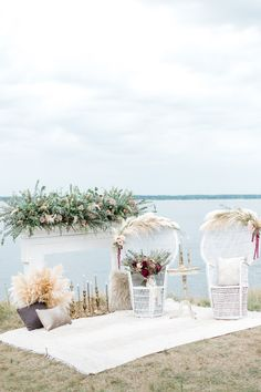 Whimsical Neutral And Burgundy Elopement Inspiration Beach Wedding Decorations