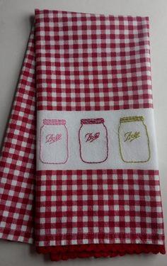 Hand Embroidered Tea Towel,embroidered Mason Jar,embroidered Ball Jar,hand Embroidered  Kitchen