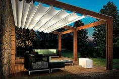 Ideas about backyard shade on diy pergola, shade cloth patio cover ideas Pergola With Roof, Wooden Pergola, Covered Pergola, Patio Roof, Covered Patios, Pergola With Canopy, Pergola With Shade, Corner Pergola, White Pergola