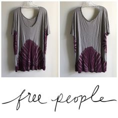 Free People || Grey Combo Dress Brand new with tags This super soft, lightweight dress with a unique tye die pattern around it is a Free People staple. It has short sleeves and a deep neckline in the back. Go out and look cute, AND be comfortable at the same time! Free People Dresses