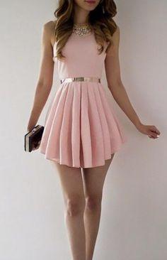 Scoop High Waist Pure Color Short Dress