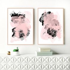 Pink Grey and Black Abstract Art Set of Two Pink Abstract