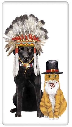 Dog and Cat Gifts - Thanksgiving Pilgrim Dish Towels – For the Love Of Dogs - Shopping for a Cause