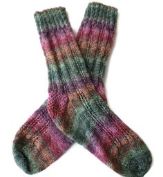 Socks  Hand Knit Women's Multi-Colored Striped by PointedNeedle