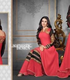 Buy RED embroidered georgette unstitched salwar with dupatta anarkali-salwar-kameez online