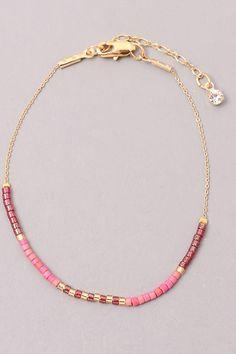 Dainty Bracelet With Seed Beads Burgundy