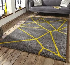 Royal Nomadic 5746 Grey/Yellow Rug By Think Rugs High Pile Rug, Green Carpet, Machine Made Rugs, Room Carpet, Home Rugs, Grey Yellow, Yellow Rugs, Grey And Yellow Living Room, Grey Rugs