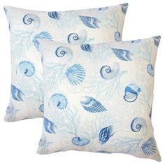 Set of 2 Brighton Coastal Throw Pillows in Ocean, Blue, Size 18 x 18 (Cotton, Graphic Print)