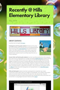 Recently @ Hills Elementary Library - May Newsletter from Teacher Librarian Chelsea Sims, ICCSD