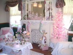 Romantic Living Room At Christmas by Mo's Cottage, via Flickr