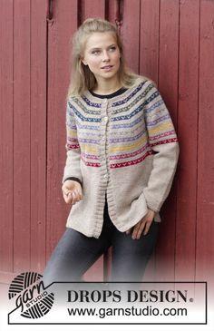 2558b8599683 Rainbow Hugs Jacket   DROPS - Knitted jacket with round yoke