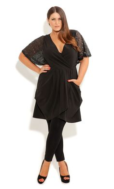 City Chic SEQUIN SHOULDER TUNIC - Women's Plus Size Fashion