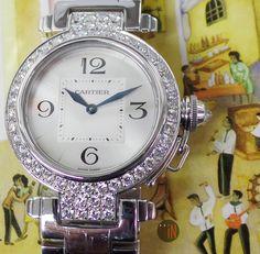 """Crystal Ball is Set, Let's Dance!"" Cartier 32mm Pasha 18k White Gold Diamond Bezel Ref#: WJ11924G ($26,950.00 USD) http://www.elementintime.com/Cartier-Pasha-WJ11924G-18k-White-Gold-Factory-Diamonds-32mm-Box-Papers"