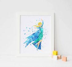Frozen Elsa Print, Frozen Disney Frozen wall decor - Frozen Watercolor, Frozen Art Print, Frozen Wall decor, Disney Princess Poster by ArtQuality on Etsy https://www.etsy.com/listing/268435618/frozen-elsa-print-frozen-disney-frozen