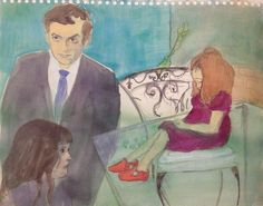 Stanley Kubrick in his New York apartment, painted by his wife Christiane. 1963–4. Anya is on the left, Vivian on the right. Watercolour, 280 x 355mm.