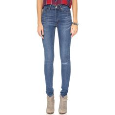 Cheap Monday Second Skin Jeans ($91) ❤ liked on Polyvore featuring jeans, surreal blue, high-waisted jeans, skinny leg jeans, denim skinny jeans, high rise jeans and blue high waisted jeans