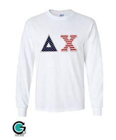 Custom American Flag Long Sleeve Greek (Sorority or Fraternity) Shirt