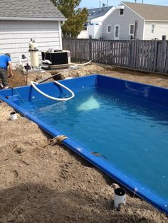 Salt was added to the pool.  Next stop concrete decking.