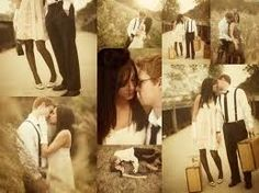 vintage engagement photo collage
