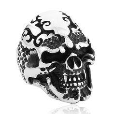 Titanium Unique Skull Punk Ring For Men