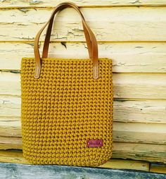 Women shoulder bag, mustard bag,hand made bag, casual bag, crochet tote bag, crochet rope bag, crochet tote, autumn bag, gift for her This exclusive, comfortable, fashionable hand crochet bag is made from strong polyester rope cord. Mustard color ir great for autumn season. This tote bag