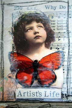 Artists Life Pensive Girl Red Butterfly Collaged by JustaBrenda