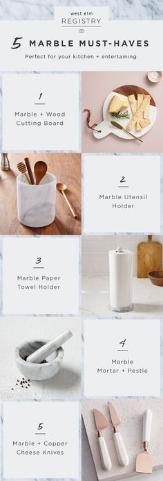 Engaged? These marble kitchen accessories are wedding registry must-haves! Head over to westelm.com to get your registry started.
