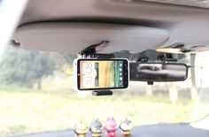 Clip Rotary Car Sun Visor Mobile Phone Holders Stands Mounts For Asus Zenfone 2